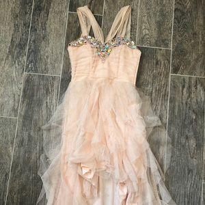 Peach Ruffly Prom Dress